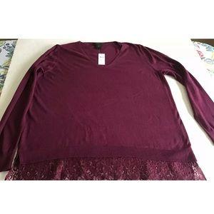 NWT Ann Taylor Factory Lace Bottom Hem Sweater XL